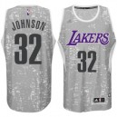 Los Angeles Lakers Earvin Johnson City Lights graue Swingman Günstig Basketball Trikots