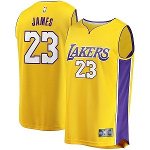 Gebrannter Lebron James Los Angeles Lakers Youth Gold 2017/18 fast Break Replik Jersey – Icon Edition