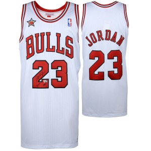 Michael Jordan Chicago Bulls Autogramm weiße Mitchell & Ness Trikots mit 1998 All Star Patch & Hof 2009 insciption-Oberdeck